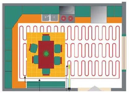 Fűtőszőnyeg tervezése konyhába-ebédlőbe.1b. Ábra.